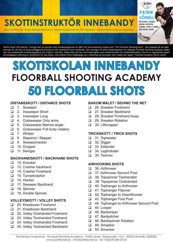 Floorball Shooting List